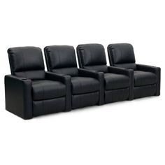 Octane Charger XS300 4 Seater Manual Recline Bonded Leather Home Theater Seating - CHARGER-R4SM-BND-BL