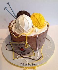Basket of yarn - by Skmaestas @ CakesDecor.com - cake decorating website