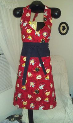 Red Tea Cup Dress Apron made by Fried Green Aprons @Lynn LOVE THE FABTIC