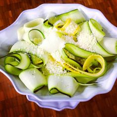 """Beat Bloat with my (Carb-less) Ribbon Veggie Pasta Salad! Use summer squash and zucchini to make refreshing ribbon """"noodles"""" by using a vegetable peeler to make long pasta-like strands. Then, toss w/ a squeeze of lemon juice, a touch of grated parmesan cheese, and add pepper to taste. Voila!  http://www.joybauer.com/recipes/ribbon-pasta-salad"""