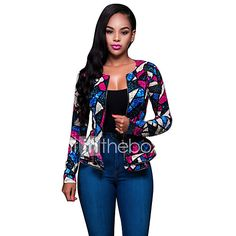 Women's Ruffle Casual/Daily Street chic Spring / Fall Jackets Patchwork Lace Slim Sexy Round Neck Long Sleeve Blue 2017 - €18.42