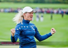 Team Europe's Suzann Pettersen celebrating a dramatic win in her singles match against Michelle Wie.