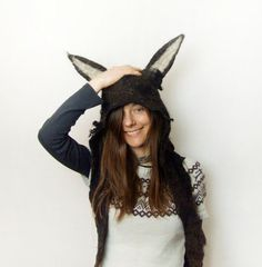 Wolf Hood Wolf Headdress Animal Hood Festival Hood by FeltYourself