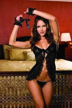 Black Tie Front Camisole Open Crotch Thong Set