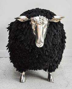 Silver And Black Sheep Stool