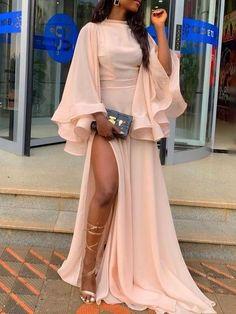 Nine Points Sleeve Mesh Plain Slit Womens Maxi Dress - Look Fashion Plain Dress, Maxi Dress With Slit, Dresses With Sleeves, African Fashion Dresses, African Dress, Elegant Dresses, Beautiful Dresses, Awesome Dresses, Pretty Dresses