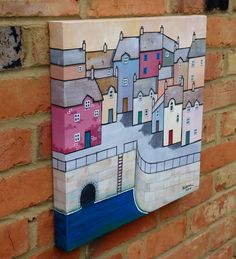 ARTFINDER: Tunnel vision by Paul Bursnall - A quayside painting of a seaside town with the harbour wall and a tunnel. Painted on Loxley gold box canvas with the image going around the sides so that a f...