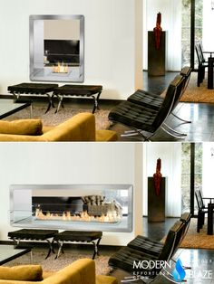 Pick the right see-throgh fireplace for the dividing wall between your kitchen and living room. We have sizes ranging from to wide! Ethanol Fireplace, Fireplace Wall, Fireplaces, Dividing Wall, Barcelona Chair, Hearth, Kitchens, Living Room, Modern