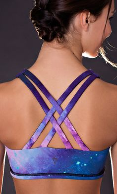 Moon Gem Collection.  Harness your adventurous spirit in this galactic print. Made with sweat–wicking, quick–drying Twolu fabric that feels super soft. | Vitality Sports Bra