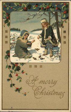Christmas Greeting Children Feed Birds Holly Berry Border Gilt Embossed PC