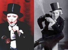 Marlene Dietrich did it before Madonna when it actually had socio-political importance.