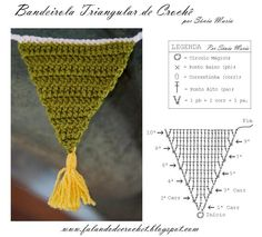 Triangle bunting, free pattern in Portugese, with chart by Falando de Crochet.