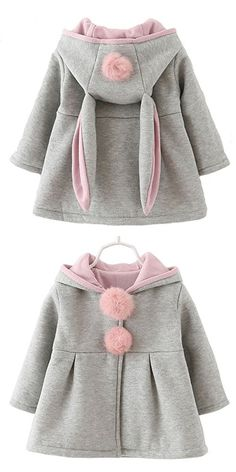 Baby Girls Toddler Kids Winter Big Ears Hoodie Jackets Outerwear Coats(Grey,12-18 Months,L/8)