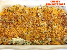 Cheesy Red Potatoes - Can't Stay Out of the Kitchen Cheesy Red Potatoes, Garlic Mashed Potatoes, Red Potato Recipes, Beef Recipes, Potatoes Romanoff Recipe, Vegetarian Nachos, Vegetable Prep, Prime Rib Roast, Gluten Free Living