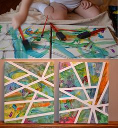 Abstract Art Done with Tape for Kids to Enjoy
