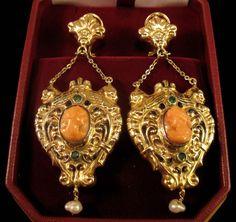 Art Nouveau 15K Coral Cameo Earrings Emeralds & Enamel & Natural Pearls 17.6 Grams