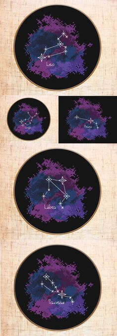 Constellation Cross stitch patterns | Zodiac sign cross stitch Galaxy | Celestial x-stitch