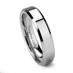 Tungsten Ring Direct - Tungsten Ring for Women, Classy Wedding Band, High Polish, Bevel Edge, Flat Top, 6MM, $24.99 (http://www.tungstenringdirect.com/tungsten-ring-for-women-classy-wedding-band-high-polish-bevel-edge-flat-top-6mm/)