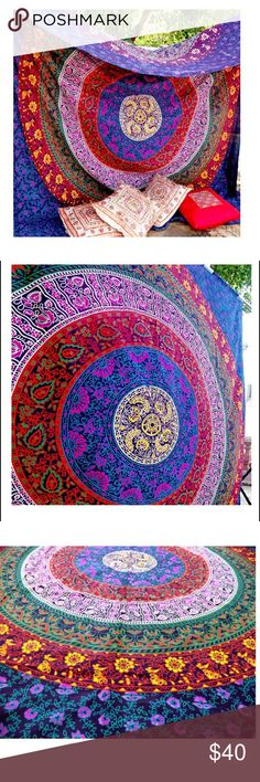 Twin Hippie Tapestry Pure Cotton Size - Twin Size - 140*215cms (55*85 inches.) color - Purple fabric - 100% Cotton. style - Mandala Usage: Bed Cover, Tapestry, Curtain, Wall Hanging Or Table Cloth Other