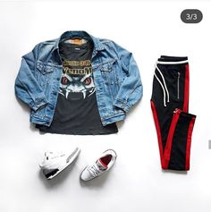 Denim Jacket, Jordans - Tap the link to shop on our official online store! You can also join our affiliate and/or rewards programs for FREE! Urban Outfits, Trendy Outfits, Cool Outfits, Fashion Outfits, Denim Jacket Fashion, Denim Jacket Men, Urban Fashion, Fashion Fall, Mens Fashion
