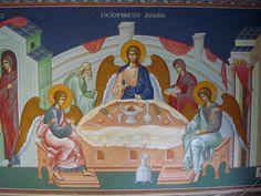 Роспись храмов, мозаика, иконопись.