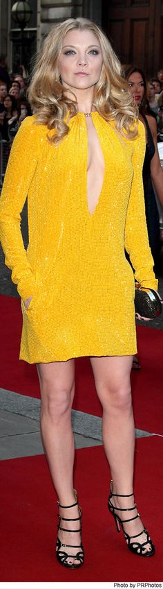 Natalie Dormer Wearing Emilio Pucci Yellow Fall 2014 Dress - 2014 GQ Men of the Year Awards - 09/02/2014