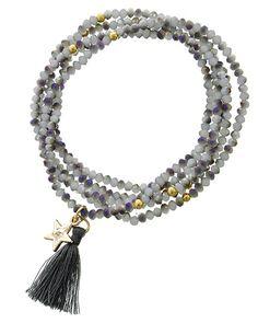 Gold Tone / Half White W/grey Ab Coating Glass Crystal / Grey Thread / Star & Tassel Charm / Stretch / Wrap Bracelet / Pendant Long Necklace