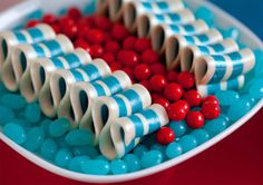 red and aqua candy!