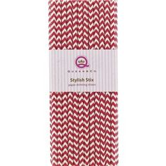 "Add style to your next celebration with these Red Chevron Stylish Stix Paper Drinking Straws. The biodegradable straws are printed with a fun red and white chevron pattern.    	There are 25 straws that are 7 3/4"" long in each package."