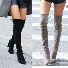 女性フェイクスエード腿の高いブーツストレッチセクシーなファッションオーバーを膝のブーツ靴女性ハイヒール黒グレーワインヌード