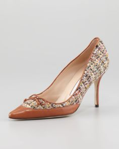 Manolo Blahnik Fabuliso Tweed Bow Pump, Multi - Neiman Marcus