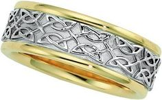 14K Gold Two Tone Men's Wedding Band.    http://www.thediamondstore.com/products/men's-wedding-rings/14k-gold-two-tone-mens-wedding-band-%7C-50389/7-603
