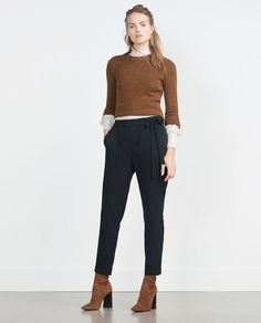 Navy blue loose fit trousers (25,95€). #zara #fall2015