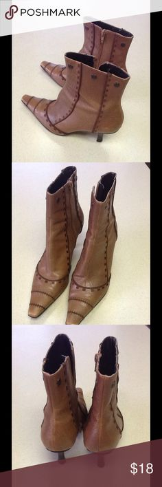 Nine West gently worn unique style💕 Love these Nine West booties so very unique gently worn with a lot more wear in them💕 Great little bootie💕💕 Nine West Shoes Ankle Boots & Booties