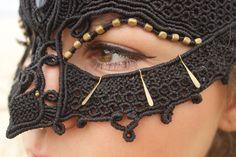 INTO THE MYSTIC Mask, *ooak *Unique Design *Burning Man Costume *Gypsy Fantasy  Bohemian Style *Labradorite  *Gemstone *Macrame *Headpiece by GlobalDreaming on Etsy