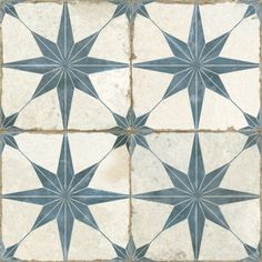 Imported from Spain, Old-world European elegance radiates from the Merola Tile Kings Star Blue in. Ceramic Floor and Wall Tile. Save time and labor spent arranging smaller square tiles Wall And Floor Tiles, Wall Tiles, Backsplash Tile, Morrocan Floor Tiles, Tiles R Us, Flooring Tiles, Indigo Walls, Mandarin Stone, Santa Fe