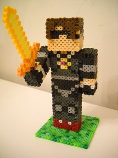 3D SkyDoesMinecraft w/Butter Sword perler beads by RetroNinNin on DeviantArt