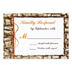 Rustic Country Camo Orange Bow Wedding RSVP Reply Cards