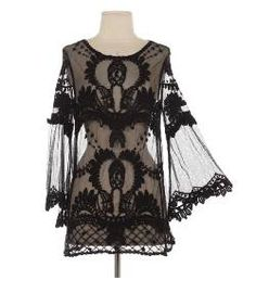 Night Flight Top: Features a lightweight mesh foundation illuminated by Victorian crochet detailing, long bell-shaped sleeves for an iconic silhouette, and an elegant tunic length to finish. Dark Fashion, Gothic Fashion, High Fashion, Womens Fashion, Style Fashion, Lace Kimono, Lace Tunic, Rock Chic, Gothic Outfits