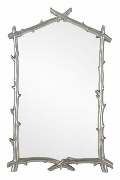 Silver Leaf Mirror with Branch Pattern. Free shipping!