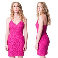 80's Pink Lace Diamond Strapped Dress by rumors on Etsy, $46.00
