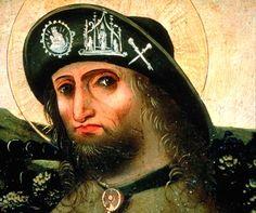St. Rochus als pelgrim met insignes op de hoed. Bad Aussee, retabel, 1480