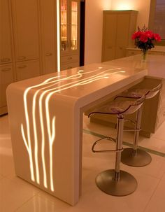 a great design featuring DuPont™ Corian® Furniture Making, Modern Furniture, Furniture Design, Home Bar Counter, Counter Top, Corian Worktops, Decor Interior Design, Interior Decorating, Eclectic Decor