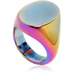 MAISON MARGIELA Iridescent Brass Ring ($295) ❤ liked on Polyvore featuring jewelry, rings, iridescent, maison margiela, iridescent jewelry, brass ring and brass jewelry