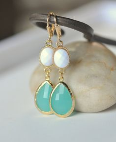 Large Turquoise Teardrop and White Oval Dangle door RusticGem