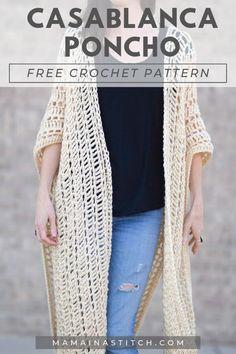 Casablanca Summer Poncho Crochet Pattern – Crochet World Modern Crochet Patterns, Crochet Poncho Patterns, Crochet Tunic, Freeform Crochet, Crochet Clothes, Free Crochet, Crochet Tops, Crochet Edgings, Crochet Dresses