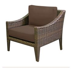 TK Classics Manhattan Wicker Outdoor Club Chair - Set of 2 Cushion Covers Cocoa - TKC035B-CC-COCOA