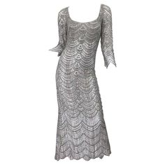 2a282e01081 Beautiful 1990s Badgley Mischka Size 12 Fully Beaded Grey Vintage 90s Deco  Gown For Sale at