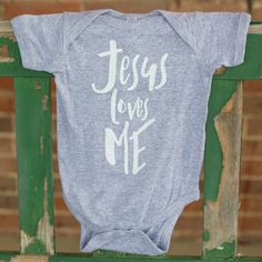 INFANT ONESIE | Jesus Loves Me | Heather Grey