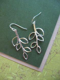 Branch Twig Earrings in Silver